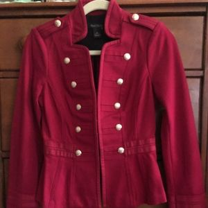 Fitted Red Stand-Up Collar Blazer